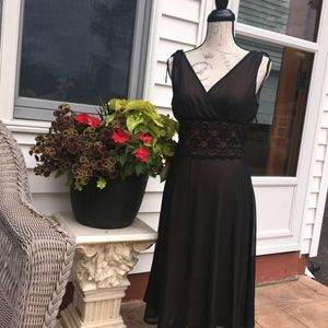 Connected Black sheer dress with lace waist - S-8
